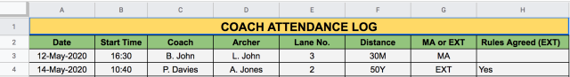 Coach Attendance Example